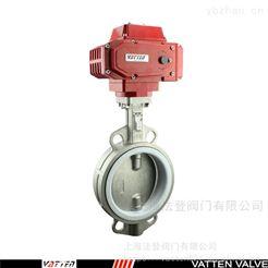 VATTEN不锈钢电动衬胶蝶阀 工业污水排放对夹蝶阀