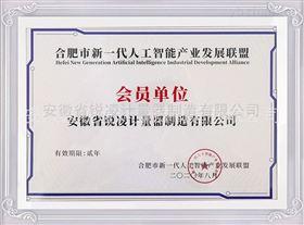 合肥市新一代人工智能产业发展联盟会员证书
