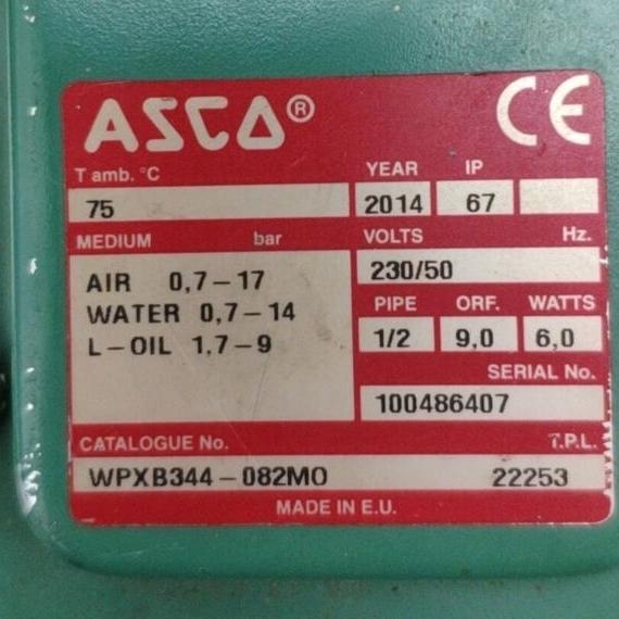 ASCO防爆型电动比例阀WPXB344-082MO